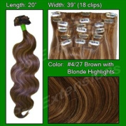 Pro Extensions Body Wave 50cm x 100cm #4/27 Dark Brown w Golden Blonde Highlights 100% Clip on in Human Hair Extensions