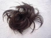 HAIR EXTENSION SCRUNCHIE DARK BROWN BUN UP DO DOWN DO TOPPER SPIKY TWISTER