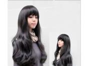 New Fashion . Lady Long Black Cosplay Girl Women's Full Wavy Wigs