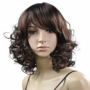 Youyoupifa Charming Natural Short Curly Wigs-Brown-Ladies