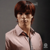 Charming Short Wine Red Men's Wigs For Men Lacefront Wigs Hair Wigs