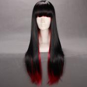 60cm Straight Multi - Colour Black & Red Flat Bang Lolita Cosplay Wig Ayamo