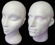 Polystyrene White Male And Female Display Head Mannequin Pair For Wigs And Glasses