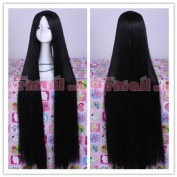100cm long black straight cosplay hair wig ML155