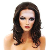 HANDSEWN SYNTHETIC FRENCH LACE FRONT FULL HAIR WIG Colour Medium Brown # 4 + Honey Blonde # 16
