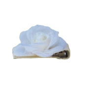 Tiny White Rose Ribbon Clip, Beautiful Gifts for Girls