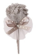 Tulle Headband with. Rhinestones for Toddlers, Flower Girls, Grey/silver