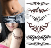 Temporary Tattoos Art Sticker - Tribal Swirls Lower Back Temporary Tattoo
