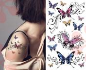 Sexy Lower Back, Shoulder, Neck, Arm Temporary Tattoos - Elegant Butterflies Tattoo