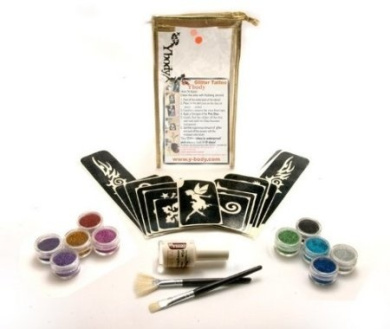 Glitter Temporary Tattoo BIG Party Kit 60 Tattoos - Water Proof Do It Yourself!