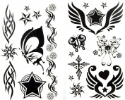 GGSELL latest LW hot selling 1 package with 2pcs waterproof black star butterfly sun and totem temporary tattoos