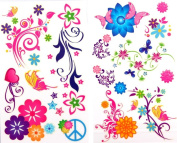 GGSELL latest LW hot selling 1 package with 2pcs waterproof colourful butterfly and flower fake temporary tattoos