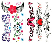 GGSELL latest LW hot selling 1 package with 2pcs waterproof colourful flower butterfly red heart and angel wing fake tattoos