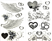 GGSELL latest LW hot selling 1 package with 2pcs waterproof heart flower and angel wing fake tattoos