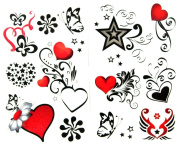 GGSELL latest LW hot selling 1 package with 2pcs waterproof red heart black butterfly and star fake tattoos