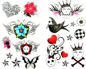 GGSELL latest LW hot selling 1 package with 2pcs waterproof swallow flower red heart flower star skull temporary tattoos