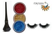 "ITAY Mineral Cosmetic 3 Stack Eye Shimmer ""Caribbean Samba"" Kit (2.5g each) + ""Black"" Liquid Eyeliner (0.12Fl.Oz) + Cala Fashion Eyelashes"