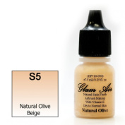 Airbrush Makeup Foundation Satin S5 Natural Olive Beige Water-based Makeup Long Lasting All Day Without Smearing Running, Fading or Caking 5ml Bottle By Glam Air