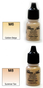 Airbrush Makeup Foundation Matte M6 Golden Beige and M8 Summer Tan Water-based Makeup Long Lasting All Day Without Smearing Running, Fading or Caking 5ml Bottle By Glam Air
