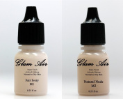 (2)Two Glam Air Airbrush Makeup Foundations M1 Fair Ivory & M2 Natural Nude for Flawless Looking Skin Matte Finish For Normal to Oily Skin (Water Based)0.25oz Bottles