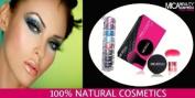 Kabuki Kit : Mineral Foundation Mf4 Honey 9gr + Kabuki Brush + Box + Mica Beauty 8 stacks in Colour