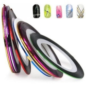 SET of 10 Nail Tape Stripe Decoration Sticker Hologram from Y2B