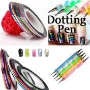 10Pcs Mixed Colours Rolls Striping Tape Line Nail Art Tips Decoration Sticker + Nail Art Pen Dotting Pen Liner Pen Nail Art Brushes