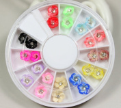 12 Colours 3D polymer clay pattern with diamond coloured roses Designs Nail Art Polymer Decal Slices in Wheel