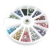 Rhinestones 2400 Piece 12 Colour Nail Art Nailart Manicure Wheels