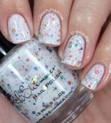 Oh Splat White Glitter Nail Polish with Rainbow Glitters- 15ml Full Sized Bottle