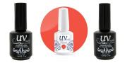 UV-Nails Soak-Off Gel Polish Neon Luv Pink NE-09+Base & Top Coat+Aviva Nail Buffer & File