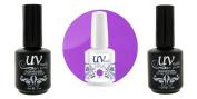 UV-Nails Soak-Off Gel Polish Neon Passionately Purple NE-6 +Base & Top Coat+Aviva Nail Buffer & File