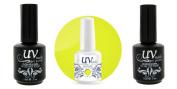 UV-Nails Soak-Off Gel Polish Neon Beautiful Sun NE-10+Base & Top Coat+Aviva Nail Buffer & File
