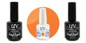 UV-Nails Soak-Off Gel Polish Neon Blazin' Orange NE-3 +Base & Top Coat+Aviva Nail Buffer & File