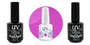 UV-Nails Soak-Off Gel Polish Neon Gypsy Glow NE-7 +Base & Top Coat+Aviva Nail Buffer & File