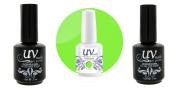 UV-Nails Soak-Off Gel Polish Neon Wowzer! NE-11+Base & Top Coat+Aviva Nail Buffer & File
