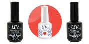 UV-Nails Soak-Off Gel Polish Neon Love It! NE-5 +Base & Top Coat+Aviva Nail Buffer & File