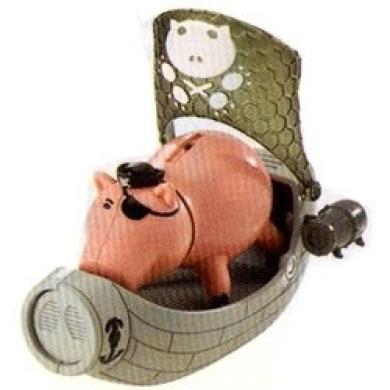 Toy Story 10cm Deep Dive Aqua Pirate Hamm with Vehicle Figure