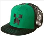Minecraft Creeper Face Premium Snap Back Hat Green/Black