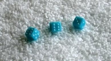 Three Mini Minis Aqua Opaque Dice