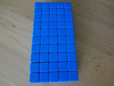 50 Blank Blue Dice 16MM