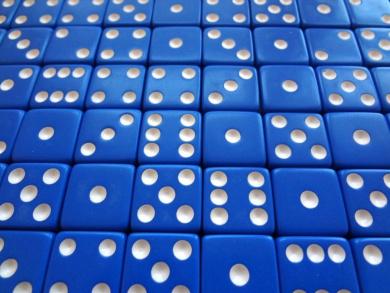 50 Blue Opaque Dice 16 mm