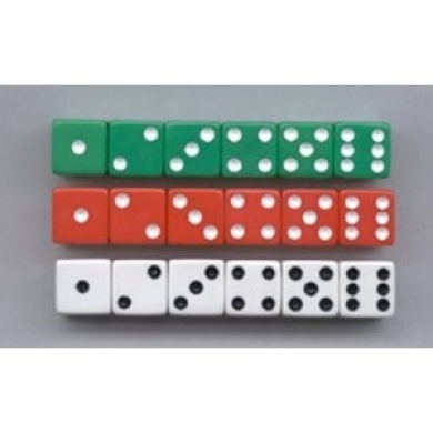 Dot Dice 6 Each Of Red White & Green -- Case of 8