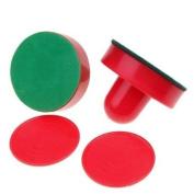 2 Air Hockey Pushers+2 Pucks Table Hockey Handles