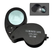 Jeweller's Lighted Dual LED Magnifier Eye Loupe 30X Magnification - 2.5cm Lens