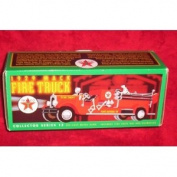 TEXACO 1929 MACK FIRE TRUCK COLLECTOR SERIES DIE CAST METAL BANK INCLUDES FIRE CHIF HAT AND DALMATIAN