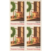 Seasons Greetings Wreath & Toys Set of 4 x 15 Cent US Postage Stamps Scot 1843