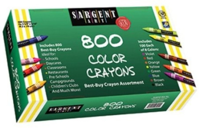 Sargent Art Best Buy Crayons; 8 Colours; 800 Count Box; no. SAR553280