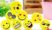 Large Yellow Funny Smiling Face Erasers Set