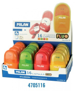 Milan Capsule Fluo Sharpener-Eraser, Display of 16